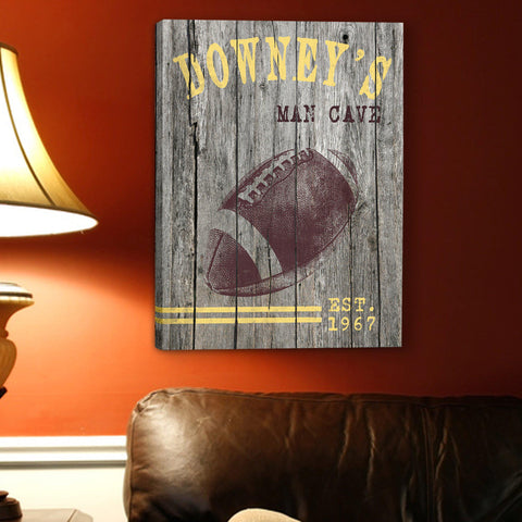 Personalized Man Cave Canvas Prints - Vintage - Football