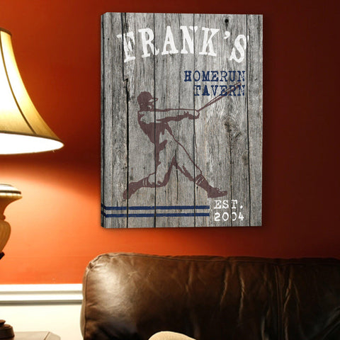 Personalized Man Cave Canvas Prints - Vintage - Homerun