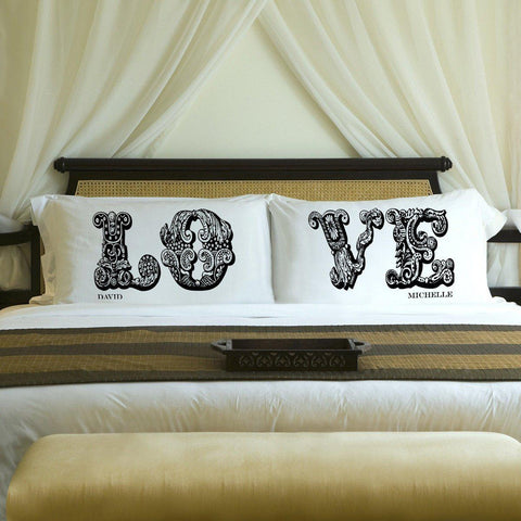 Personalized Couples Pillow Case Set - LOVE - Home Decor - AGiftPersonalized