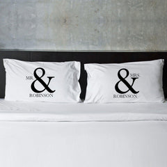Personalized Couples Pillow Case Set - MrMRS - Home Decor - AGiftPersonalized