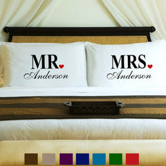 Personalized Couples Pillow Case Set - MrsandMr - Home Decor - AGiftPersonalized