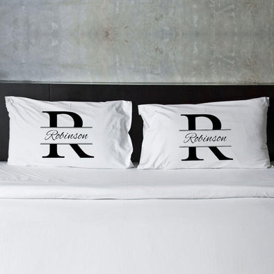 Personalized Stamped Design Couples Pillowcase Set -  - JDS