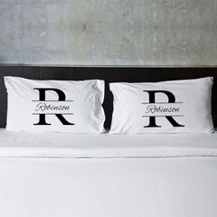 Personalized Stamped Design Couples Pillow Case Set -