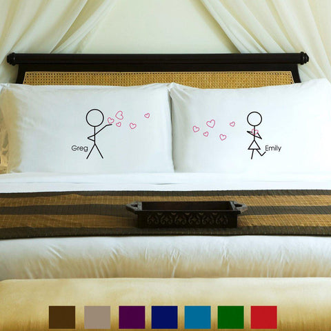 Personalized Couples Pillow Case Set - Stick - Home Decor - AGiftPersonalized