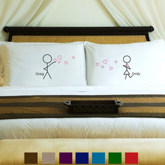 Personalized Couples Pillow Case Set - 9 Designs at AGiftPersonalized