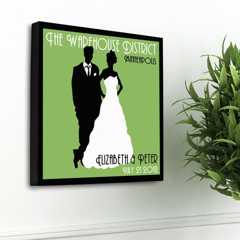 Personalized Couples Studio Canvas Sign - Green
