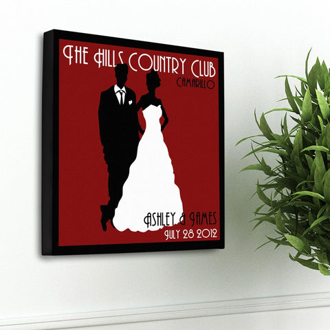 Personalized Couples Studio Canvas Sign - Red