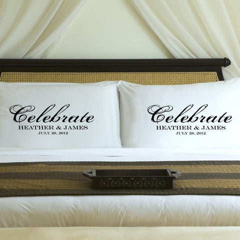 Personalized Celebration Couples Pillow Case Set - Black - Home Decor - AGiftPersonalized