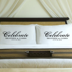 Personalized Celebration Couples Pillow Case Set - Black