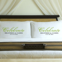 Personalized Celebration Couples Pillow Case Set - Green