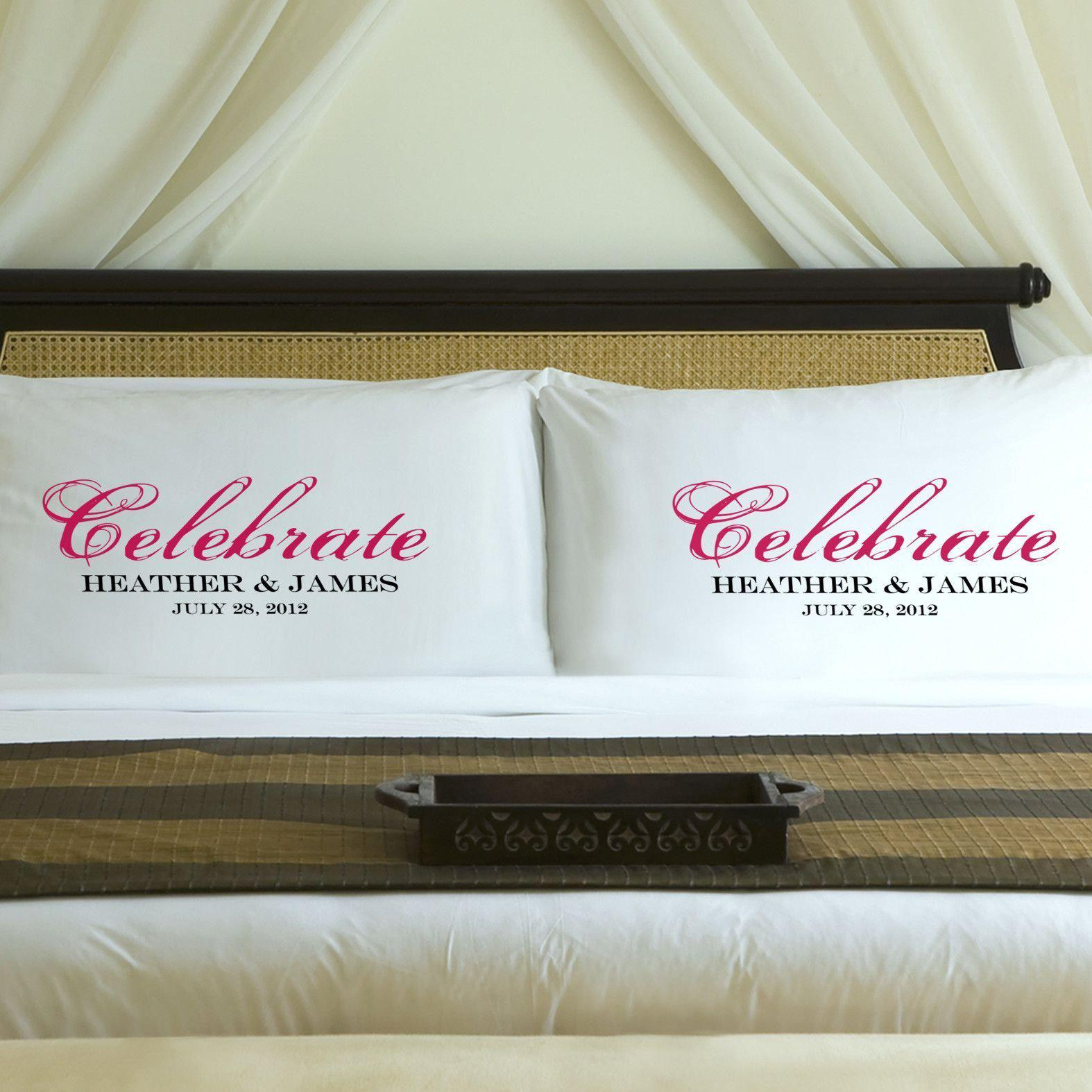 Personalized Celebration Couples Pillow Case Set