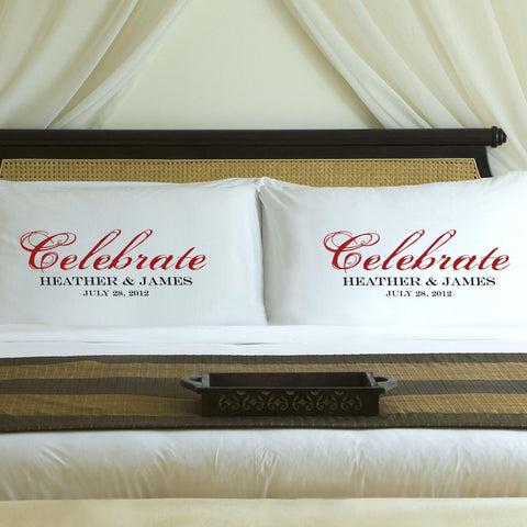 Personalized Celebration Couples Pillow Case Set - Red