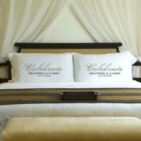 Personalized Celebration Couples Pillow Case Set - Sand