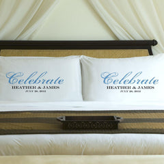 Personalized Celebration Couples Pillow Case Set - Blue