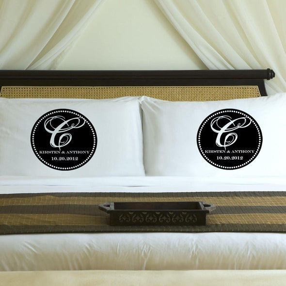 Personalized Magical Monogram Couples Pillow Case Set - Black - JDS