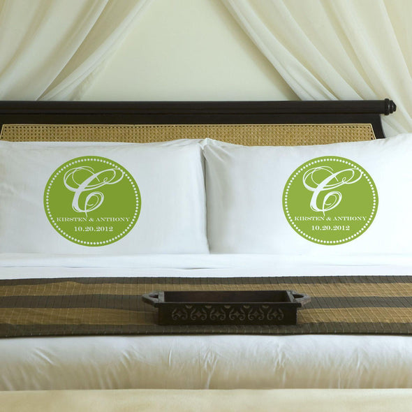 Personalized Magical Monogram Couples Pillow Case Set - Green - JDS