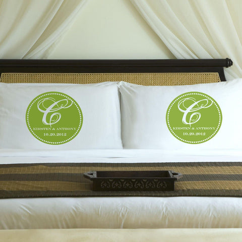 Personalized Magical Monogram Couples Pillow Case Set - Green
