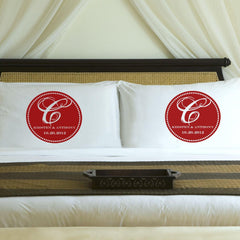 Personalized Magical Monogram Couples Pillow Case Set - Red