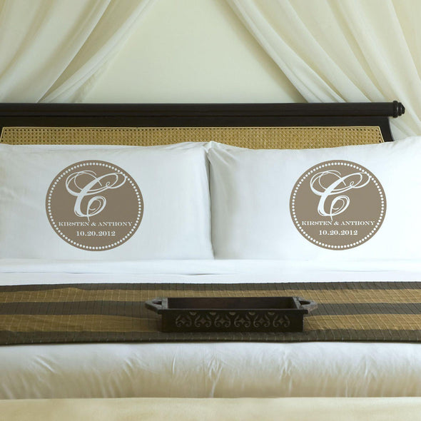 Personalized Magical Monogram Couples Pillow Case Set - Sand - JDS