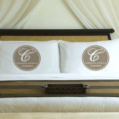 Personalized Magical Monogram Couples Pillow Case Set - Sand