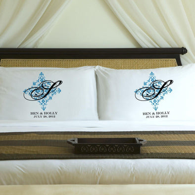 Personalized Perfect Panache Couples Pillowcases - Blue - JDS