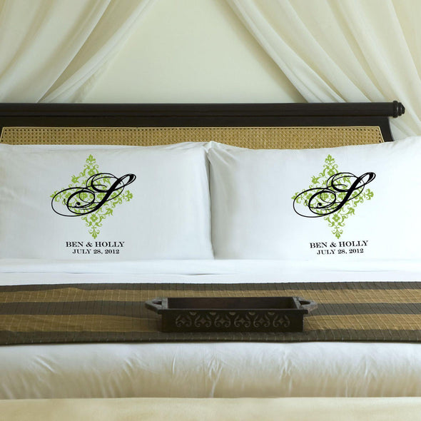 Personalized Perfect Panache Couples Pillowcases - Green - JDS