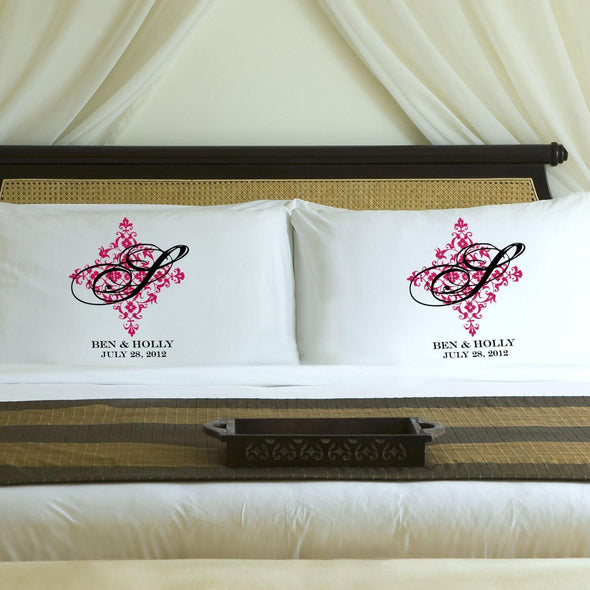 Personalized Perfect Panache Couples Pillowcases - Pink - JDS