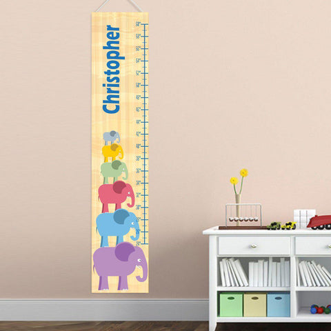 Personalized Growth Chart - Height Chart - Boys - Gifts for Kids - BoyStackingElepahnt