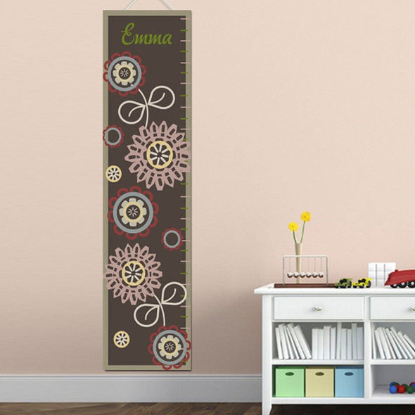 Personalized Growth Chart - Height Chart - Girls - Gifts for Kids - BrownFloral - JDS