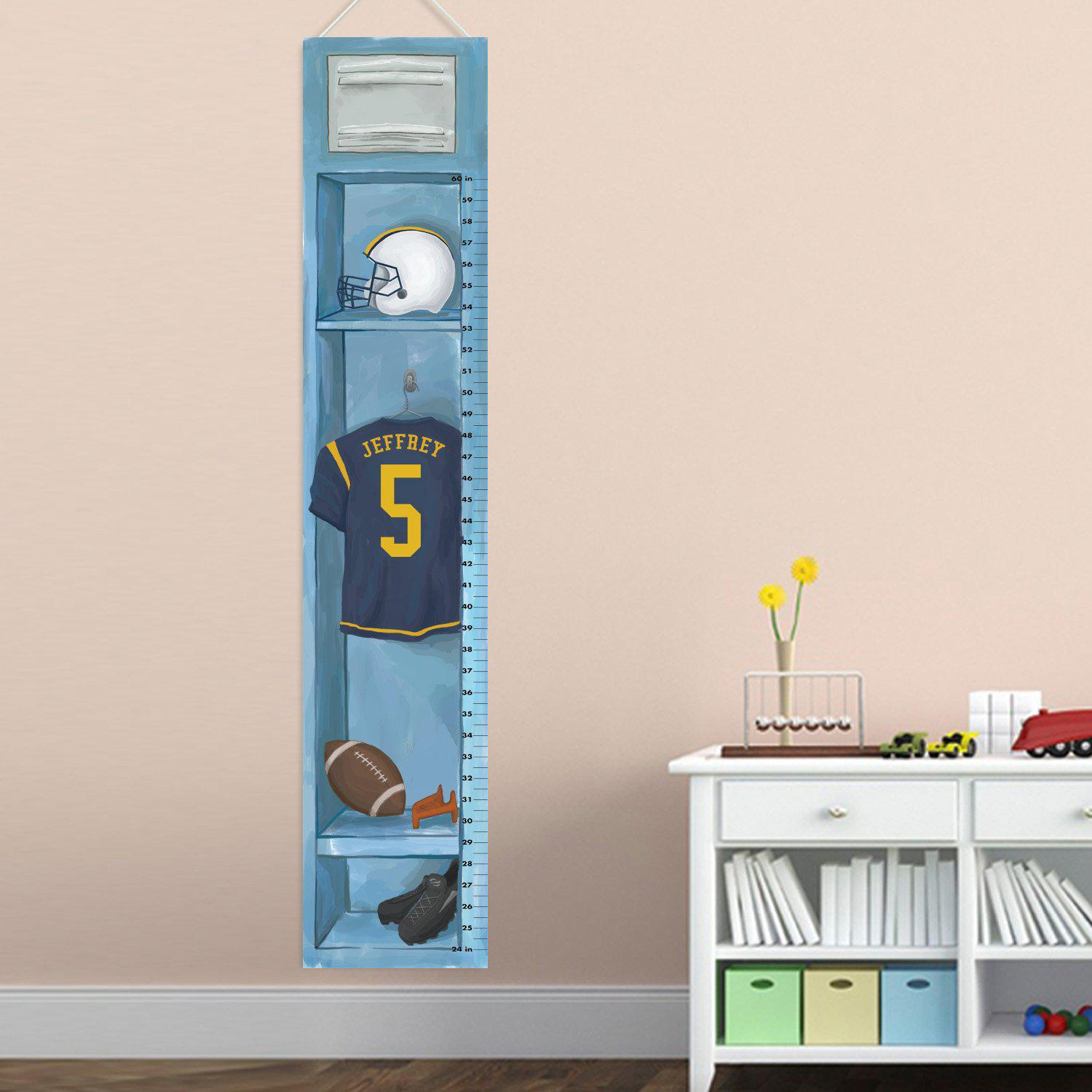 Personalized Sports Locker Growth Chart for Boys - Football Height Chart