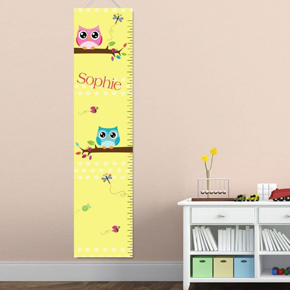 Personalized Growth Chart - Height Chart - Girls - Gifts for Kids - Owls - JDS