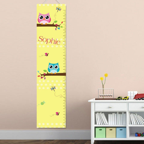 Personalized Growth Chart - Height Chart - Girls - Gifts for Kids - Owls - Gifts for Kids - AGiftPersonalized