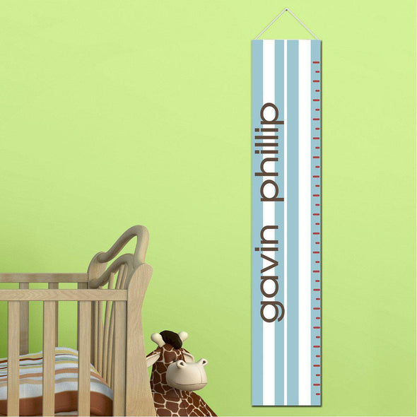 Personalized Growth Chart - Height Chart - Boys - Gifts for Kids - SportyBlueStripes - JDS