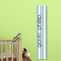Personalized Growth Chart - Height Chart - Boys - Gifts for Kids - SportyBlueStripes