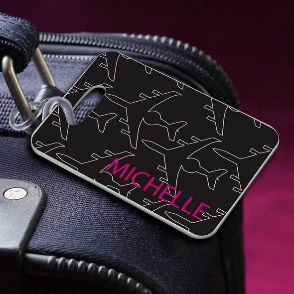 Personalized Luggage Tags - JetSetter-Black - JDS
