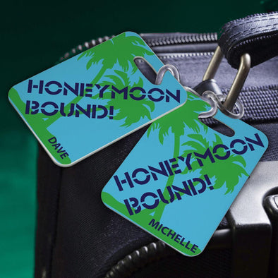 Personalized Couples Luggage Tags - Honeymoon Bound - JDS
