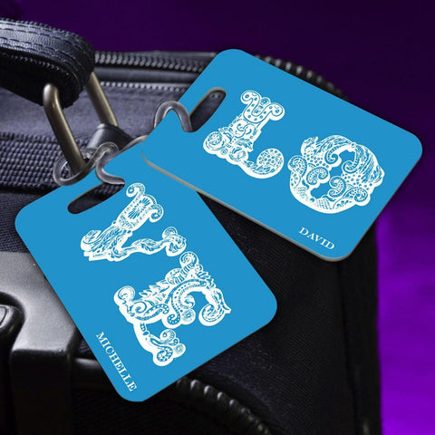 Personalized Couples Luggage Tags - LOVE-Blue - Travel Gear - AGiftPersonalized