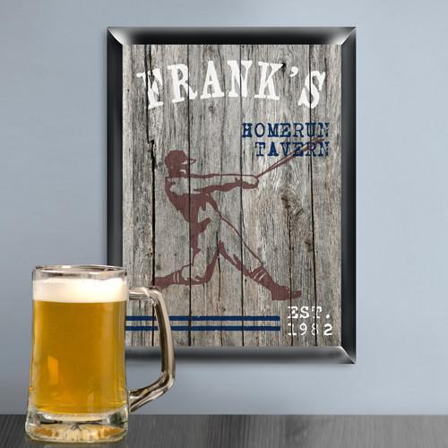 Personalized Traditional Man Cave Pub Signs - Homerun - JDS