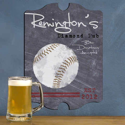 Personalized Vintage Tavern Pub Sign - Baseball, Billiards, Football, Golf, Homerun, Mug - Baseball - Man Cave Gifts - AGiftPersonalized