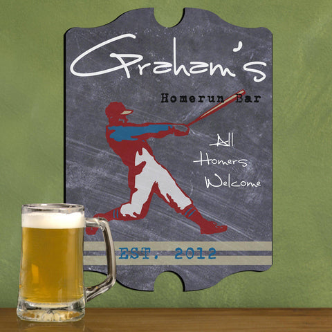 Personalized Vintage Tavern Pub Sign - Baseball, Billiards, Football, Golf, Homerun, Mug - Homerun - Man Cave Gifts - AGiftPersonalized