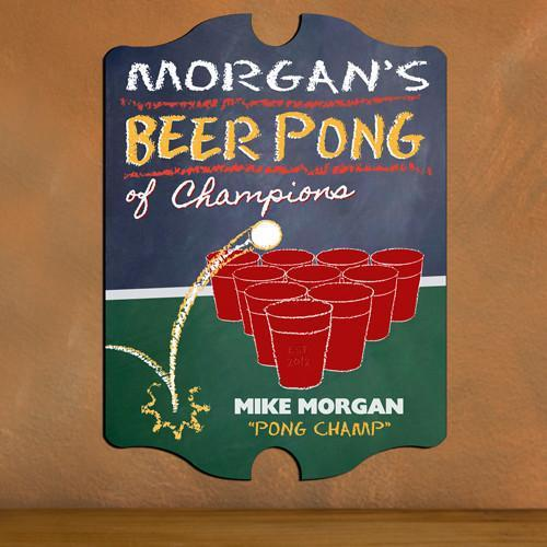 Personalized Vintage Beer Pong Champion Sign