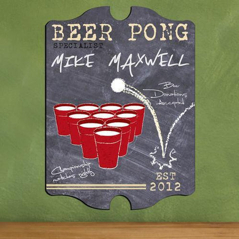 Personalized Vintage Beer Pong Sign - Specialist -