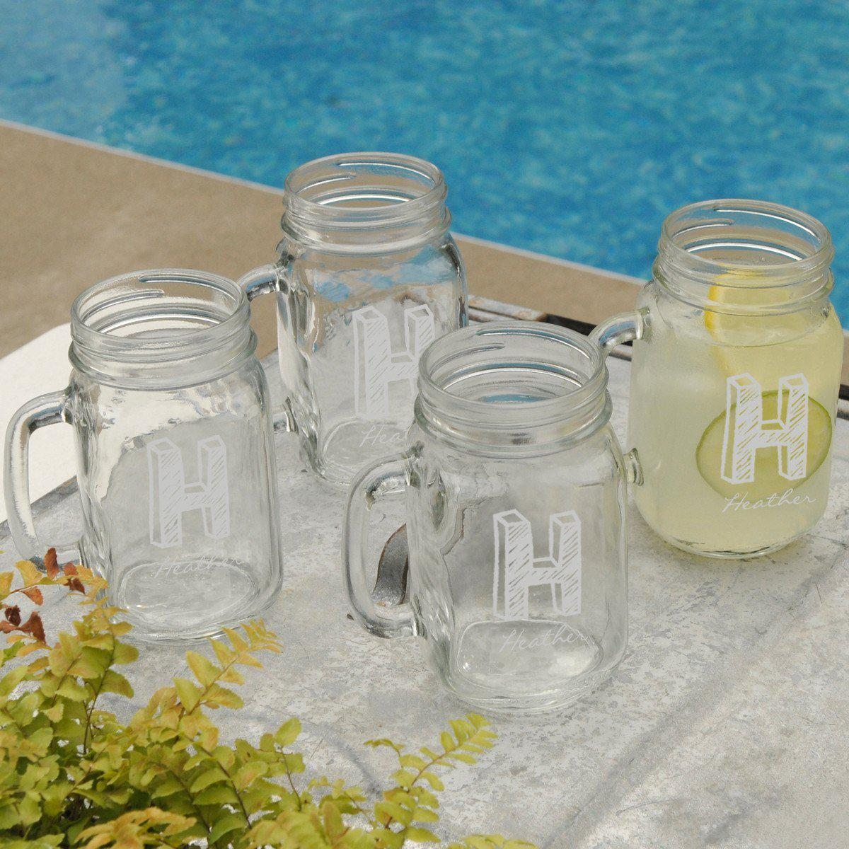 Personalized Glasses - Set of 4 - Mason Jars - Glassware - Wedding Gifts