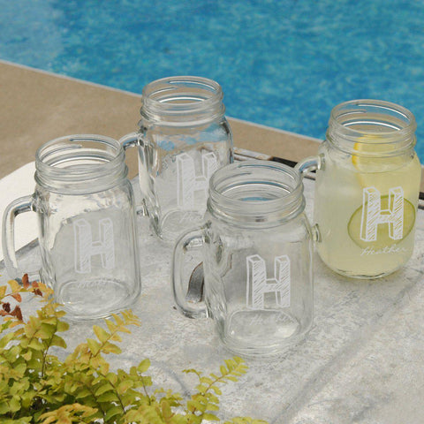 Personalized Jar Glass Set of 4 - Kate - Glassware - AGiftPersonalized