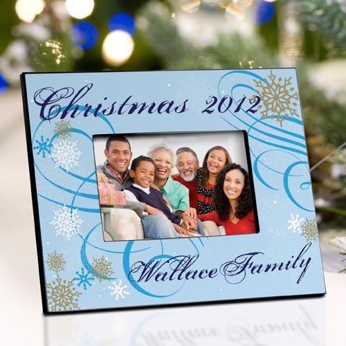 Personalized Christmas Picture Frame - Dazzling Snowflakes
