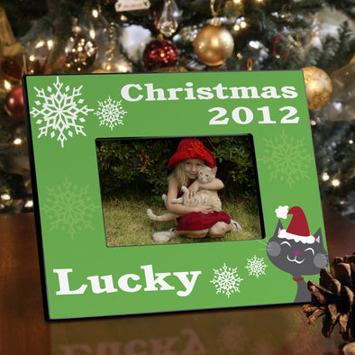 Personalized Christmas Pet Picture Frame - Cat - JDS