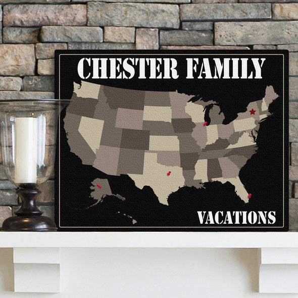 Personalized Family Travel Map Canvas Sign - Earth Tones - JDS