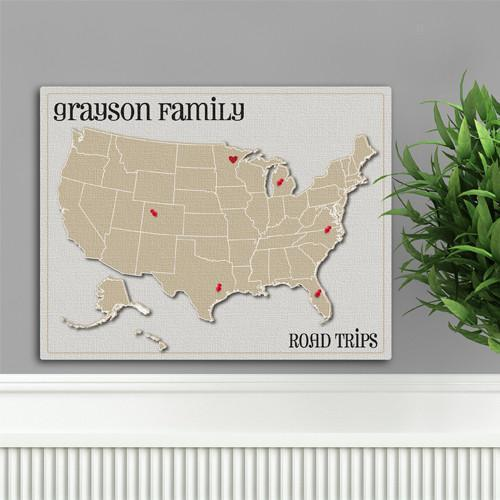 Personalized Family Travel Map Canvas Sign - Heart at Home - JDS