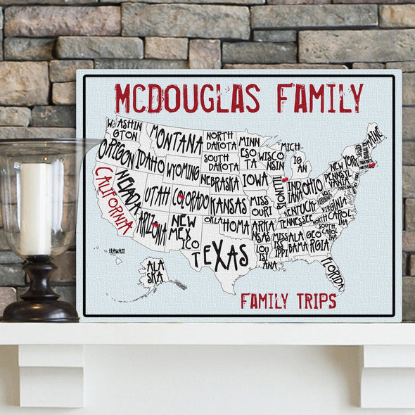 Personalized Family Travel Map Canvas Sign - Sea to Shining Sea -