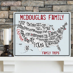 Personalized Family Travel Map Canvas Sign - Sea to Shining Sea at AGiftPersonalized
